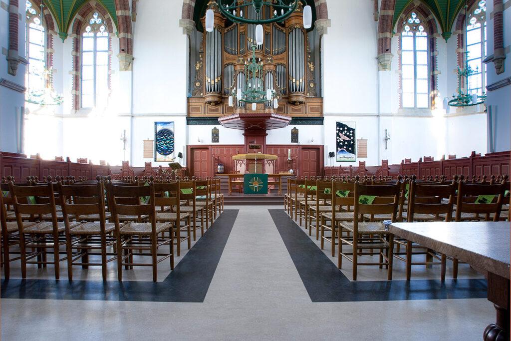 Linoleum vloer bij een kerk in Schagen